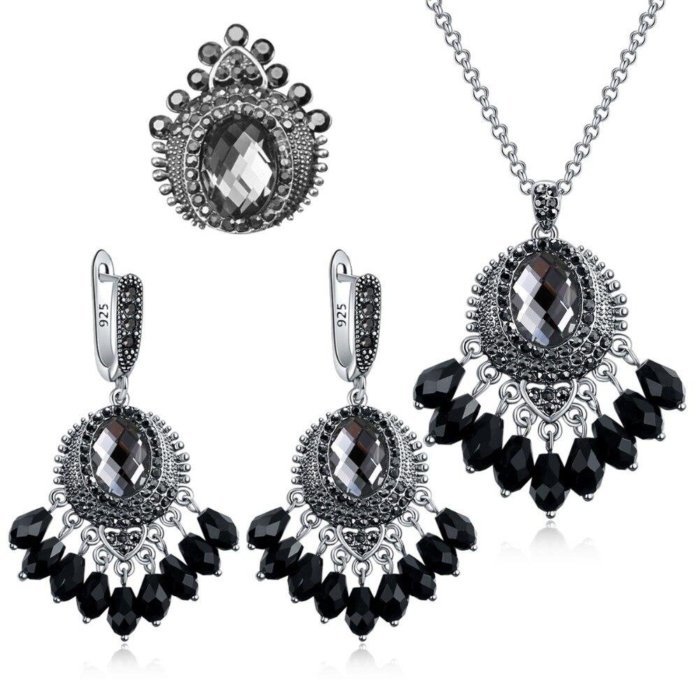 Ajojewel Vintage Grey/Dark Blue Crystal Crown Jewelry Sets Antique Silver Plated Black Rhinestone Anniversary Jewelry
