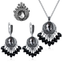 Ajojewel Vintage Grey/Dark Blue Crystal Crown Jewelry Sets For Women Antique Silver Plated Black Rhinestone Anniversary