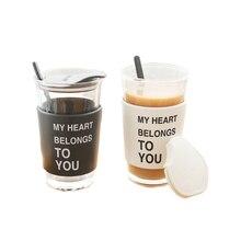 Анти-обжигающее стекло Прозрачный кофейная чашка с крышкой и ложкой питьевой контейнер для соков