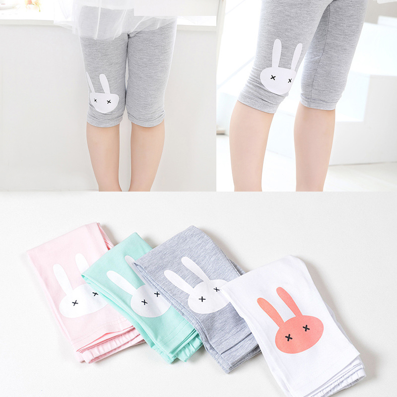3-10years Rabbit Footless Girls Knee Length Pants Kid Five Trousers Cropped Children Modal Cotton Leggings Summer Bottoms