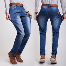2016Top Quality Summer Men Jeans Man Skinny Jean Fashion Strech Casual Designer Brand Slim Denim BluePants Plus Size28-38#YF3819