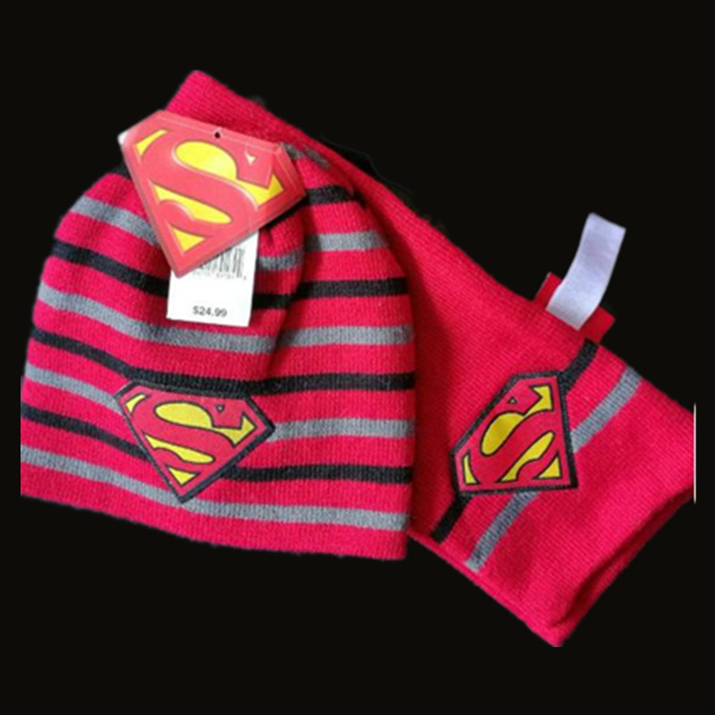 Kids Winter Warm Superman Hat Toddler Infant Girls Boys Hat + Scarf Caps Cute Baby Cartoon