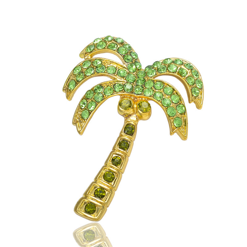 MZC Cute Safety Pin Brooch Fashion Green Coconut Tree Broches Crystal Girls Cheap Costume Jewelry X0870
