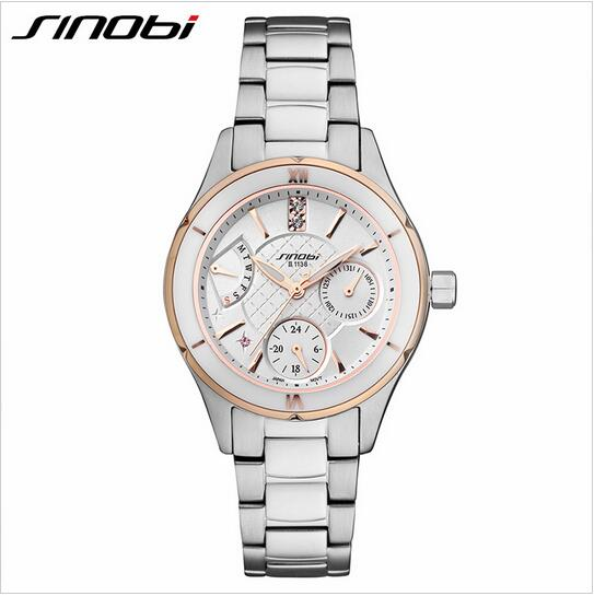 SINOBI Top Brand Luxury Ceramic Watch Women Watches Complete Calendar Week Women's Watches Ladies Watch Clock reloj mujer