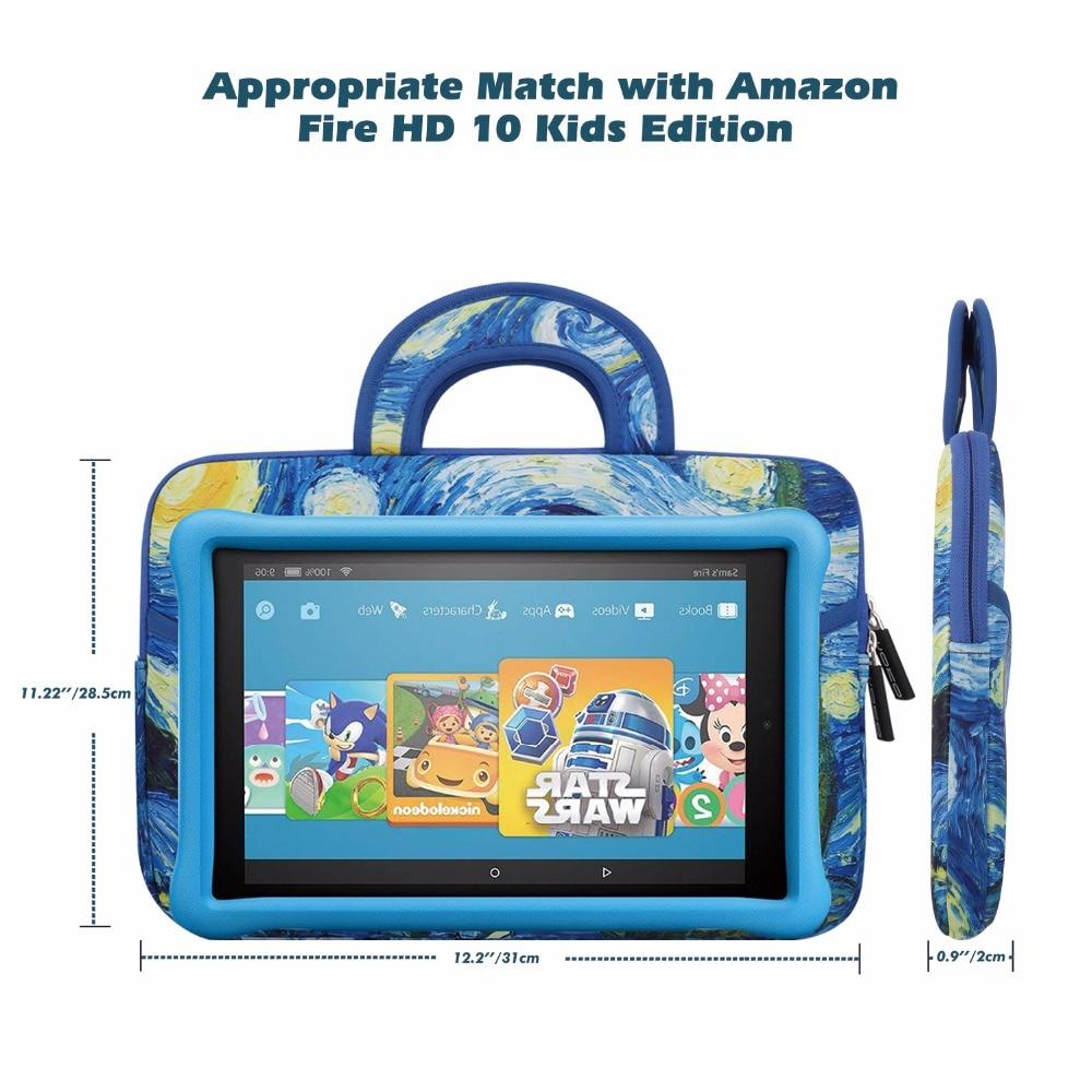 Magenta MoKo Fire HD 10 Inch Kids Tablet Sleeve Case Bag, Kindle Fire HD 10.1 Inch 2017 Shock-Proof Zipper Handle Pouch Portable Neoprene Case Cover for  Fire HD 10 Kids Edition 10.1 2018