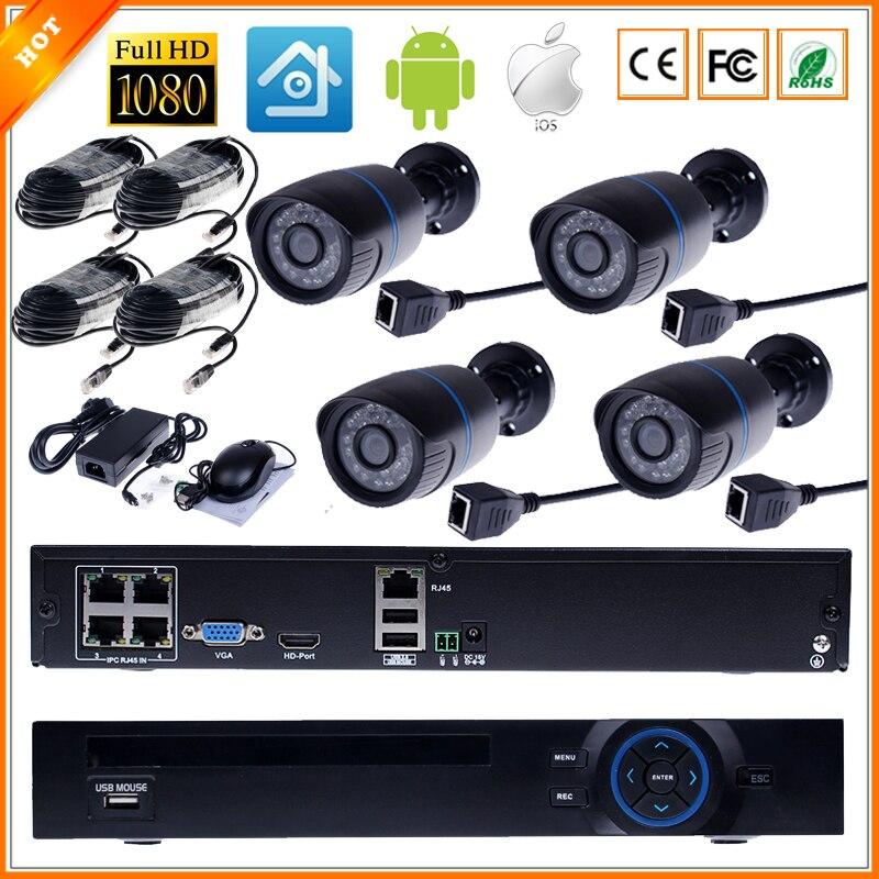 imágenes para FULL HD 1080 P Kit de Vigilancia CCTV 4CH Sistema de CCTV PoE HI3516C Sistema 4CH 1080 P NVR PoE + 4 UNIDS 1080 P Al Aire Libre Cámara IP PoE