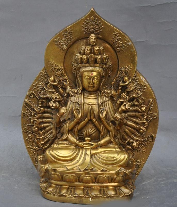 christmas 9Chinese buddhism brass 1000 arms Kwan Yin Guan Yin Bodhisattva buddha statue New Year