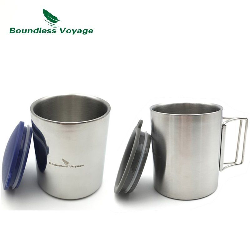 Boundless Voyage 220ml/ 300ml Outdoor Water Cup Double Layer Travel Mug Coffee Cup BV1008/BV1009 collapsible silicone water cup portable coffee mug