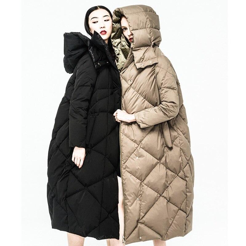 Europeo Gruesa Mujeres Calidad Alta 2018 Invierno 90 Blanco black Chaqueta Feminino Parka Estilo Ganso Moda Casaco De Suelta Khaki Wuj0787 vAA7rqaw
