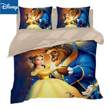 Disney beauty and beast 3D printing bedding set twin size comforter covers for kidls queen bed spread home textile 3pcs discount