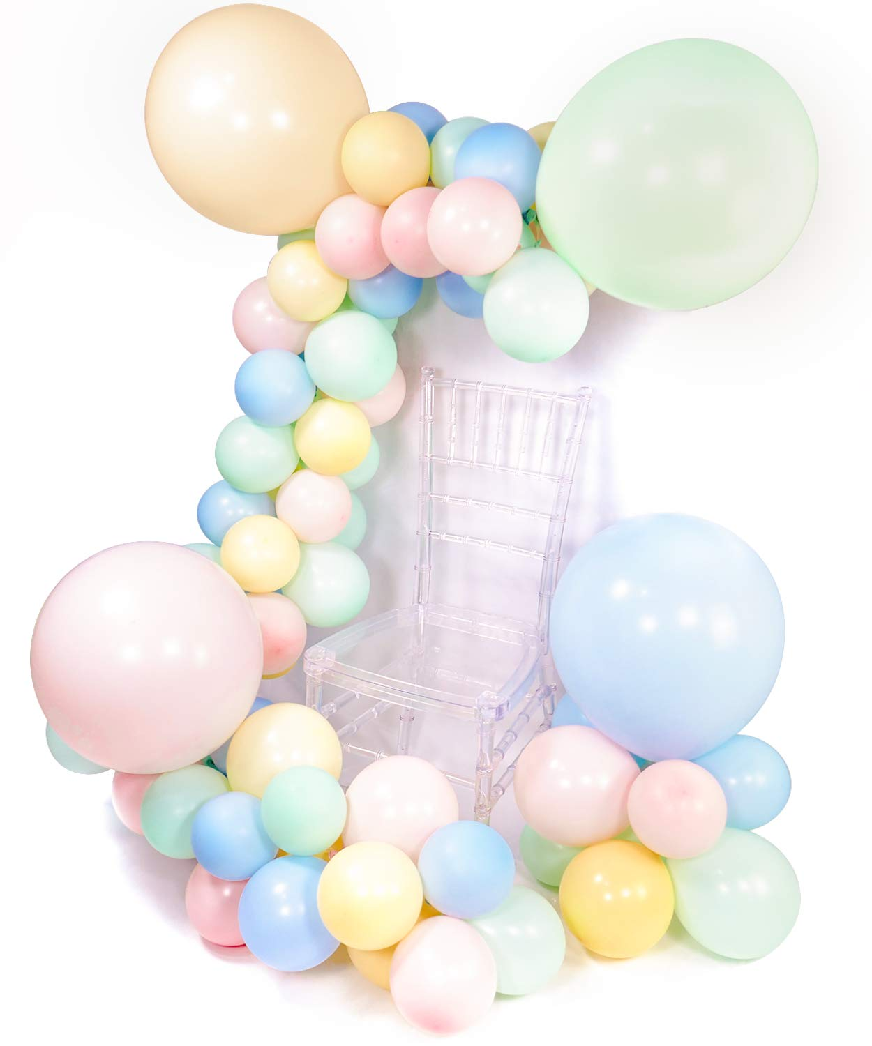 METABLE 100pcs Pastel Yellow Pale Pink Light Blue Mint Balloons, Decorations for Birthday, Baby Shower