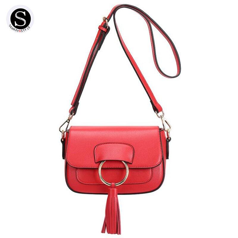 Senkey Style Genuine Leather Bags For Women Small Tassels Pocket 2017 Shoulder Bags Handbags Women Famous Brand Crossbody Ladies