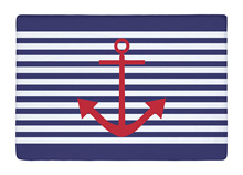 Floor Mat Vintage Navy Blue Stripe and Red Anchor Print Non-slip Rugs Carpets alfombra For Indoor Outdoor living kids room