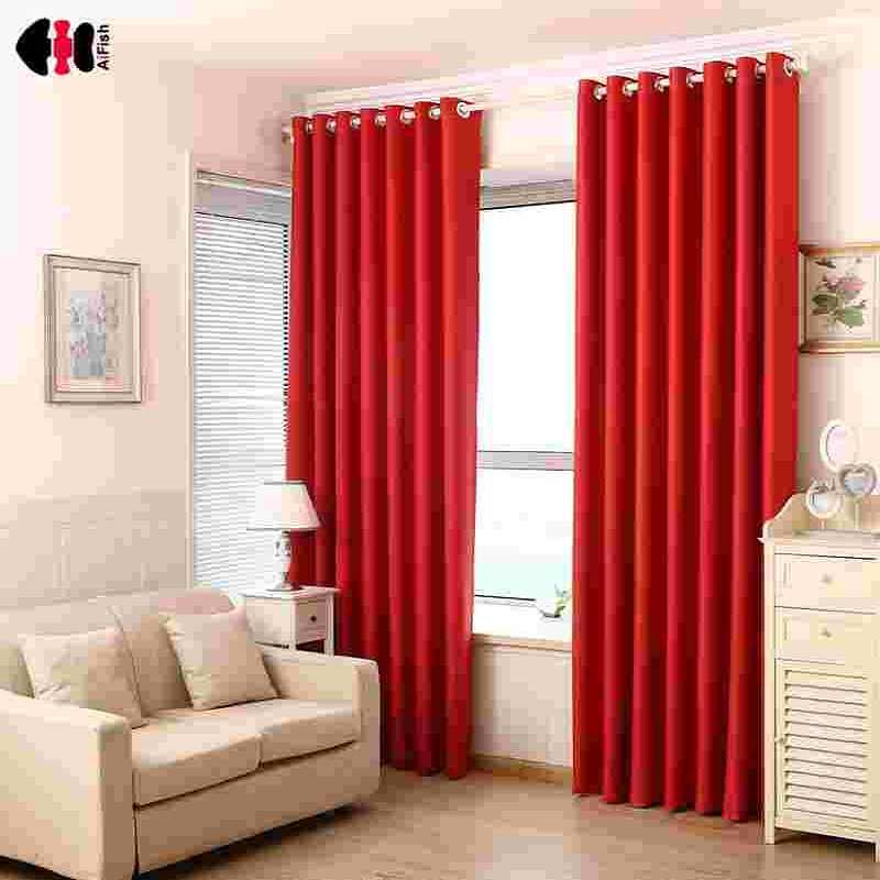 Red Curtains Pure Black Blockout Curtains  French Curtain Double Shading Cloth For Living Room Bedroom WP092D