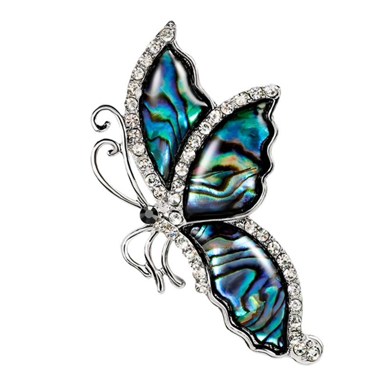 Fashion 2018 Blue Butterfly Brooch Clothes Accessories Gold-color Abalone Shell Insect Brooches Jewelry Pins For Suit Dress