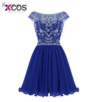 108f98f20afe3 XCOS Kraliyet Mavi Kristal Mezuniyet Elbiseleri Kısa Şifon Boncuk Şifon Mezuniyet  Elbise V Geri Vestidos Curtos