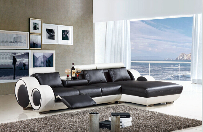 Modern Sectional Leather Sofa With L Shaped Sofa Furniture For Living Room  Recliner Sofa(China