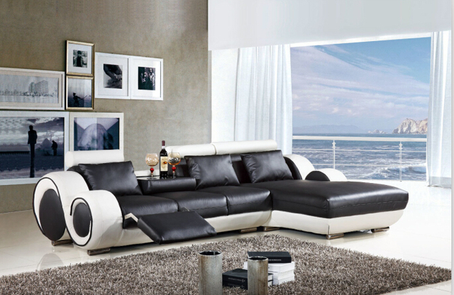 Modern sectional leather sofa with L shaped sofa furniture for ...