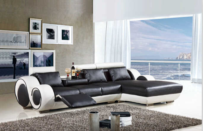 Modern sectional leather sofa with L shaped sofa furniture ...