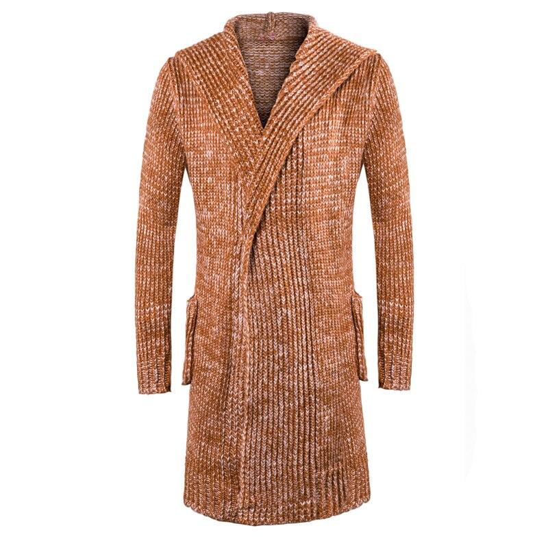 Fashion Style Men Hooded Long Sweatercoat Men Winter Warm Cardigan Long Sweaters Men Thicker Warm Sweatercoats Size 3XL