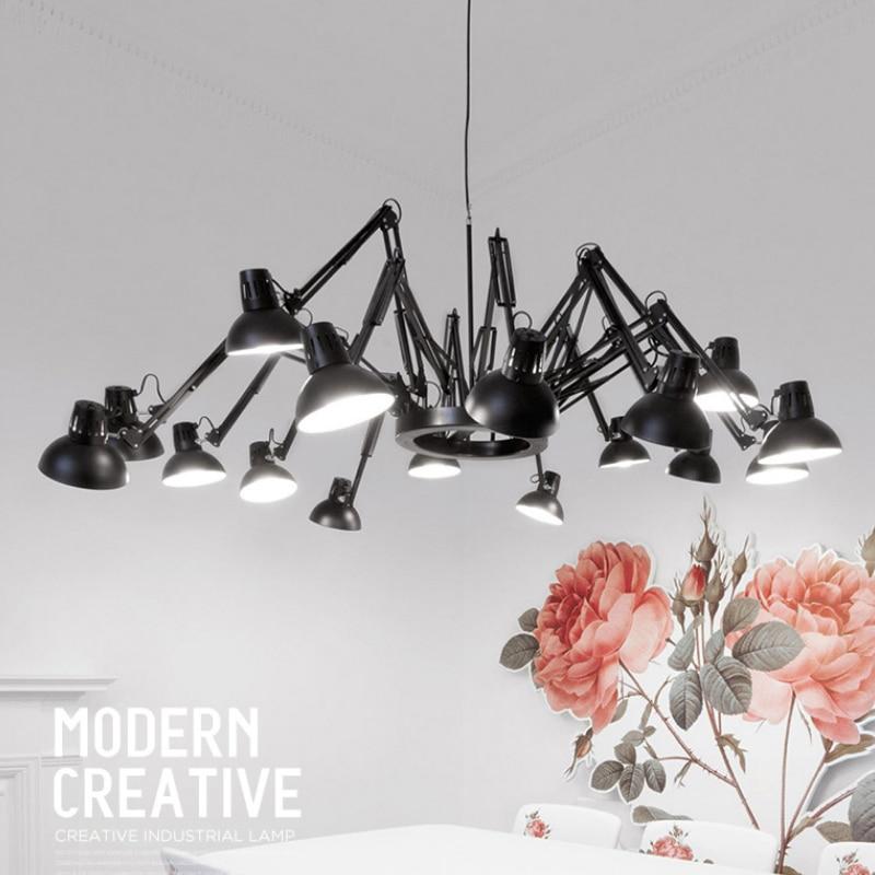 Moderní kreativní lustry světel svítidla bílá černá skandinávská protahovací pracovní kapesní svítidlo domácí vnitřní závěsná lampa LED