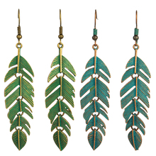 Купить с кэшбэком 2019 Boho Retro Green Leaf Tassel Eardrop Earring Bohemian Ethnic Vintage Alloy Hanging Dangle Drop Earrings Jewelry For Women