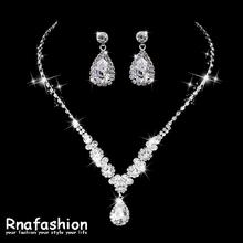 RNAFASHION Hot Sell Wedding Bridal Jewelry Set Clear Crystal Rhinestone Drop Necklace Earrings Cool Party Gift