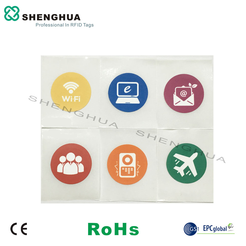 6pcs/pack Cheap NFC 13.56MHz ID Adhesive Label Logo Printing RFID ISO14443 Type A Tag Sticker Diam 25mm Round 213 Chip Wet Inlay