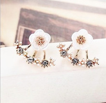 Fashionable small chrysanthemum earring jacket after hanging removable girls fresh push-bank earrings gifts