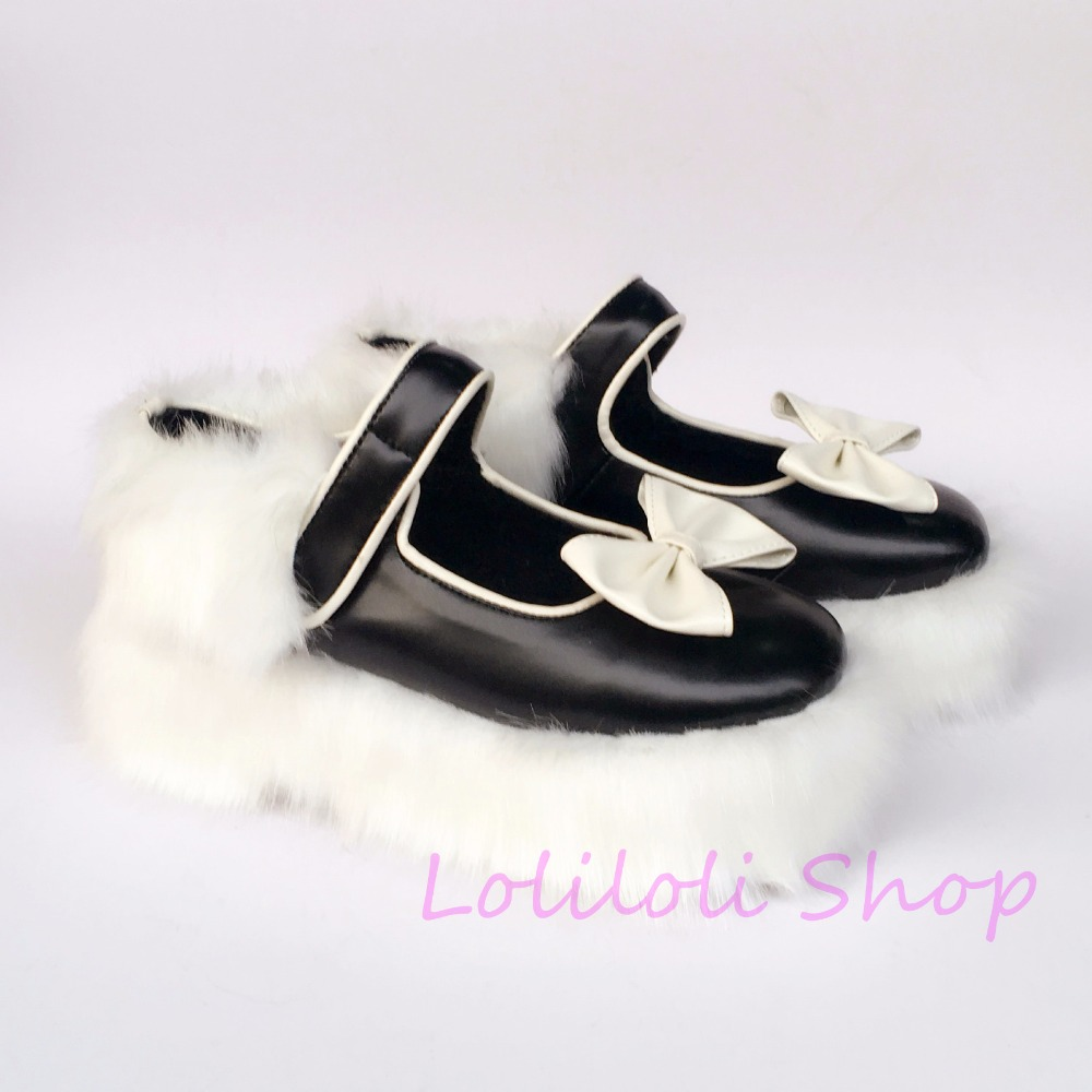 цены Princess sweet lolita shoes loliloli yoyo  black with white bow rabbit hair textile buckle strap high heel boots  1445