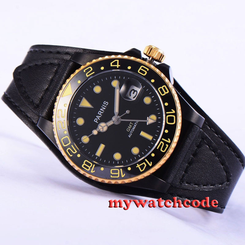 40mm Parnis black dial PVD case Automatic movement sapphire glass Mens Watch 533 40mm parnis white dial vintage automatic movement mens watch p25