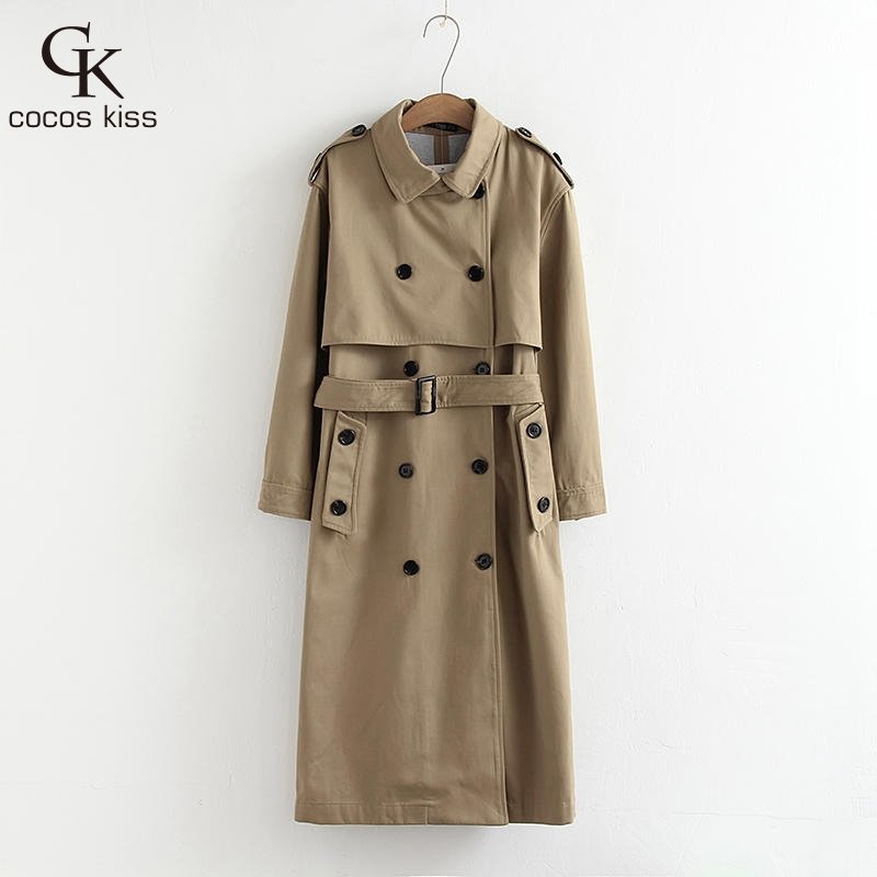 2017 Autumn Winter Warm Elegant Cool Two Colors Beautiful Button Personality Temperament Fashion Womens Long Coat   Trench