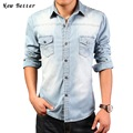 2017 Denim Shirts Men Fashion Slim Jeans chemise homme Solid mens dress shirts Casual camisa masculina long sleeve men shirt 3XL