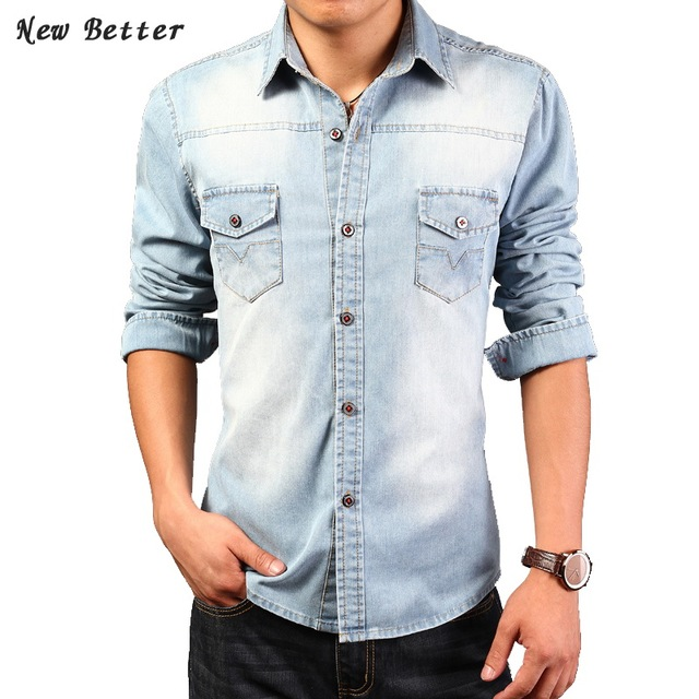 904709a6815 2017 Denim Shirts Men Fashion Slim Jeans chemise homme Solid mens dress  shirts Casual camisa masculina