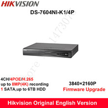 In stock Hikvision Original English H.265 4K NVR DS-7604NI-K1/4P Replace DS-7604NI-E1/4P Embedded Plug&Play 4POE 4CH IP Camera