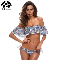 Lace Off Shoulder Bikini Set Sexy Swimsuit Women Swimwear Strapless Bathing Suit Flounces Bandeau Beachwear 2018