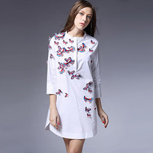 Qbale Ladies White Summer Dresses Casual 2017 high grade solid butterfly embroidery beaded women shirt dress