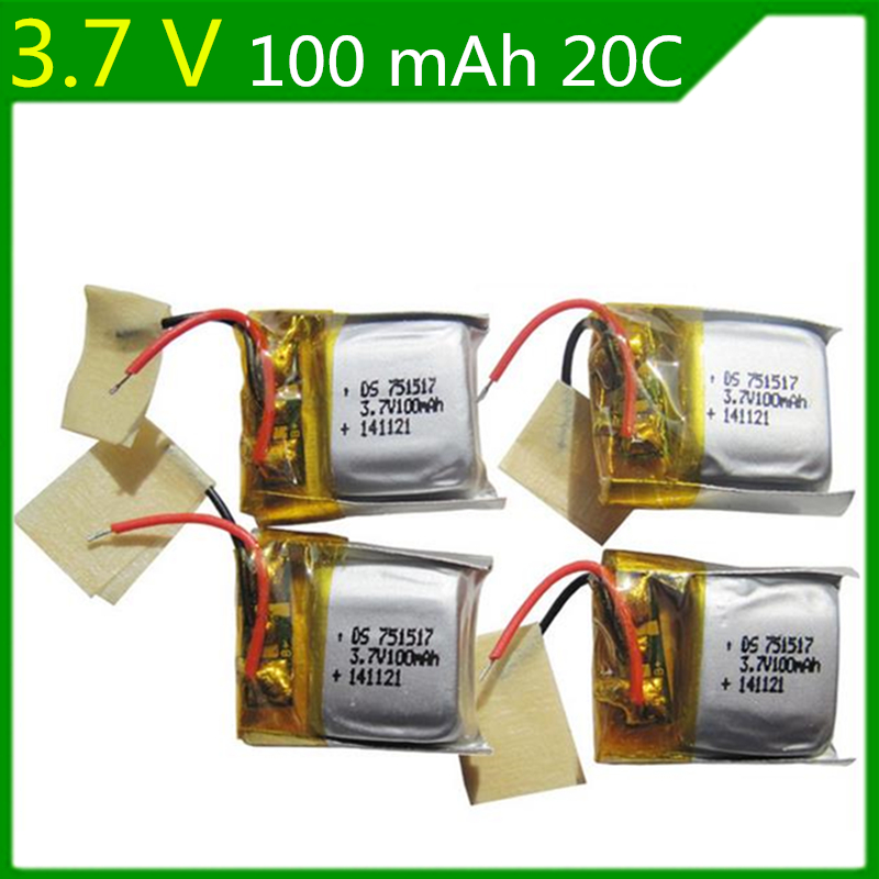 4Pcs/sets <font><b>3.7V</b></font> <font><b>100mAh</b></font> 751517 <font><b>lithium</b></font> polymer <font><b>battery</b></font> for CX-10 CX-12 JJ810 Remote Quadrocopter Lipo bettery <font><b>3.7V</b></font> Lipo <font><b>battery</b></font> image