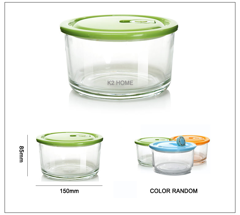 Premium Meal Container Glass Lunch Bento Box Food Prep Freezer Containers Lunch Containers Food Storage Round Box Clear 2