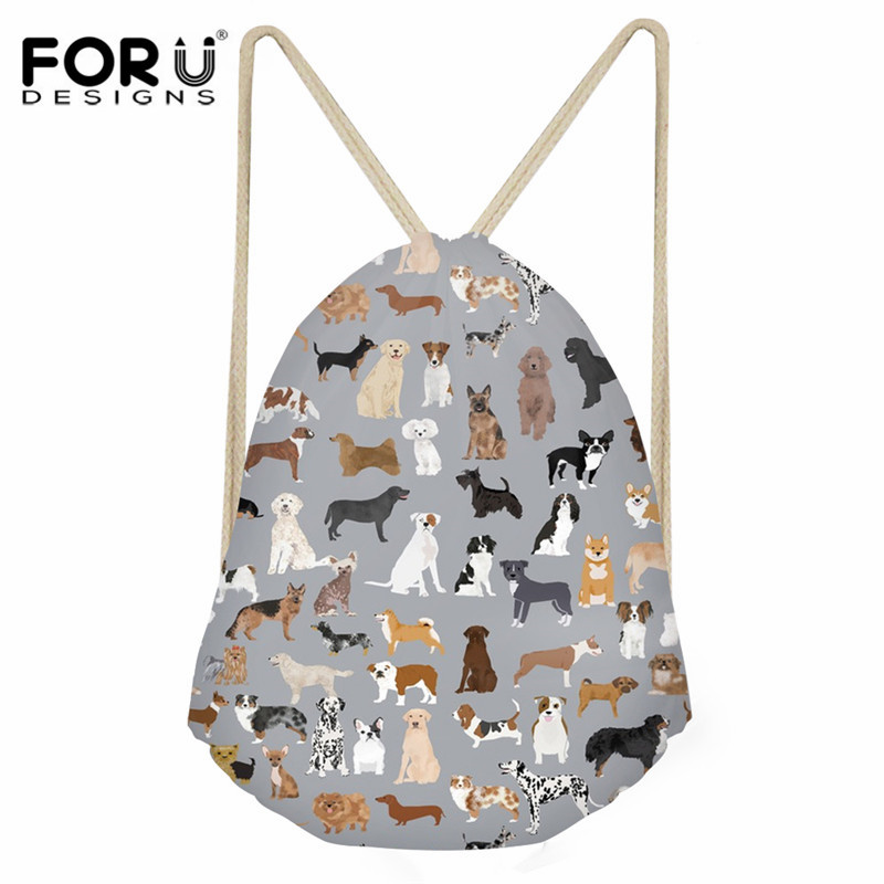 FORUDESIGNS Cute Pet Dog Pattern Daily String Backpack Fashion Small Drawstring Bag Ladies Travel Shoes Sack Bag Children Kids