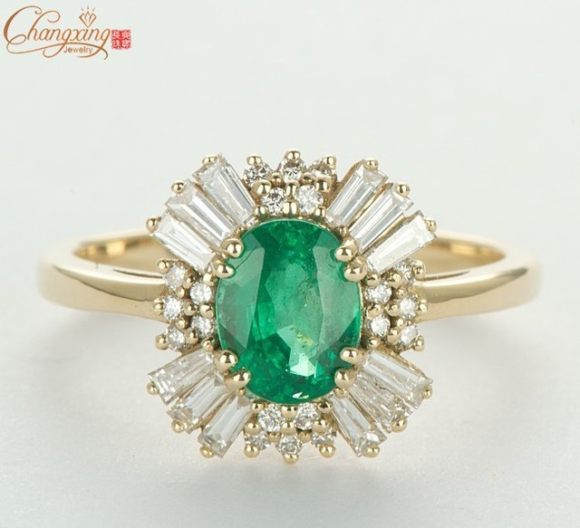 Solid 14CT Yellow Gold NATURAL COLUMBIAN EMERALD & Round Baguette