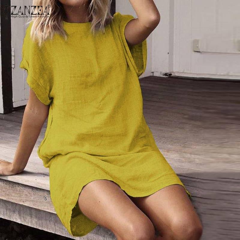 Summer Women Dress 2020 ZANZEA Autumn Sundress Vintage Short Sleeve Cotton Shirt Dresses Knee Length Vestido Tunic 5XL Plus Size Vestidos    - AliExpress