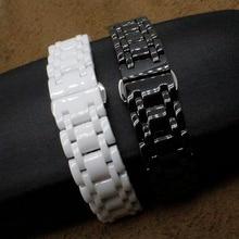 Новый высокое качество регулируемая керамическая белый ремешок браслеты диапазон женщин мужчины 16 мм 21 мм керамические часы группа мода часы аксессуары