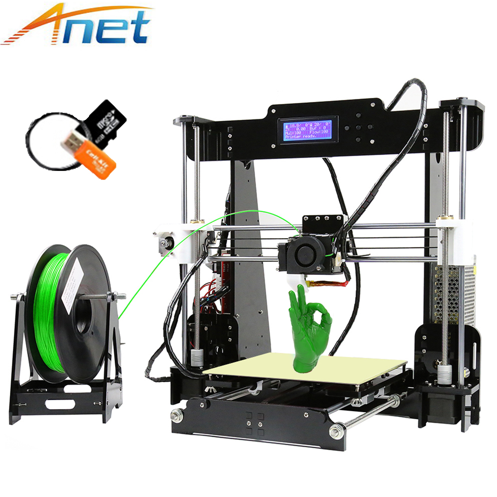 New ! Anet A2 A6 A8 Impresora 3D Printer Kit Easy Assemble Auto Leveling Large Size Reprap i3 with Filament High Quality cheap anet auto leveling