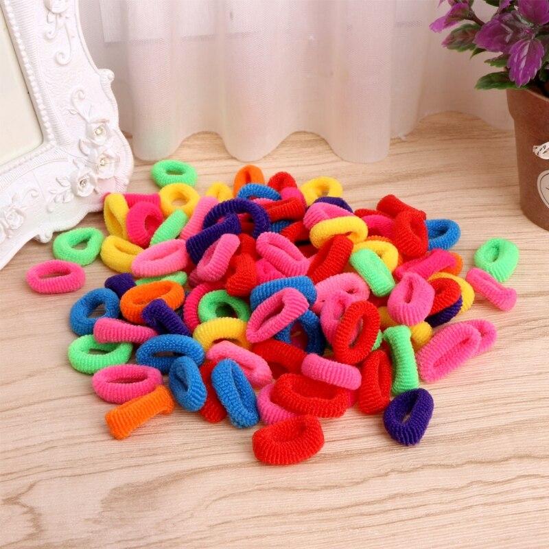 100 шт. красочные детские Резиночки для волос милые резиновая резинка для волос Эластичные аксессуары, дети девушка волос галстук хвост держатель
