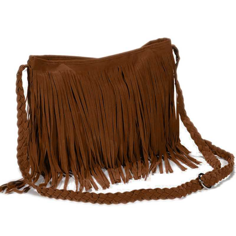 Fringed Handbag Shoulder Bag Woman Tendency Brown