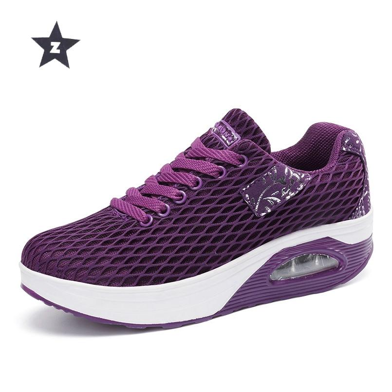 Schuhe Mesh Keile Turnschuhe purple Sport Frau 40 Z Wanderschuhe 35 Größe Atmungsaktive Absätzen Black Schaukel Dicken gray 0RBw5Hq