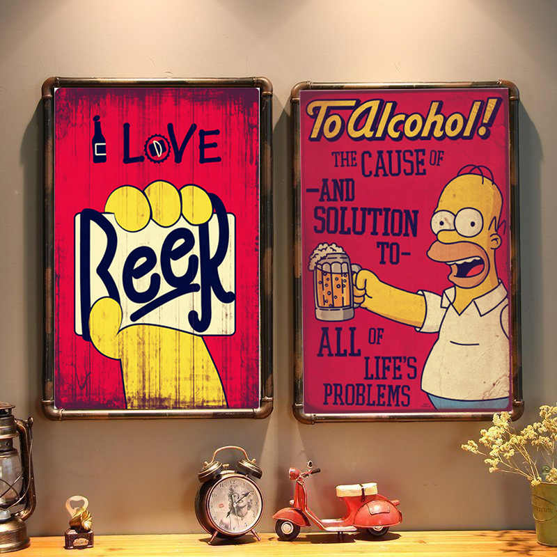 I Love Beer Vintage Metal Tin Signs Home Bar Club Pub Metal House Decorative Metal Plates Wall Stickers Simpsons Poster 30x20cm
