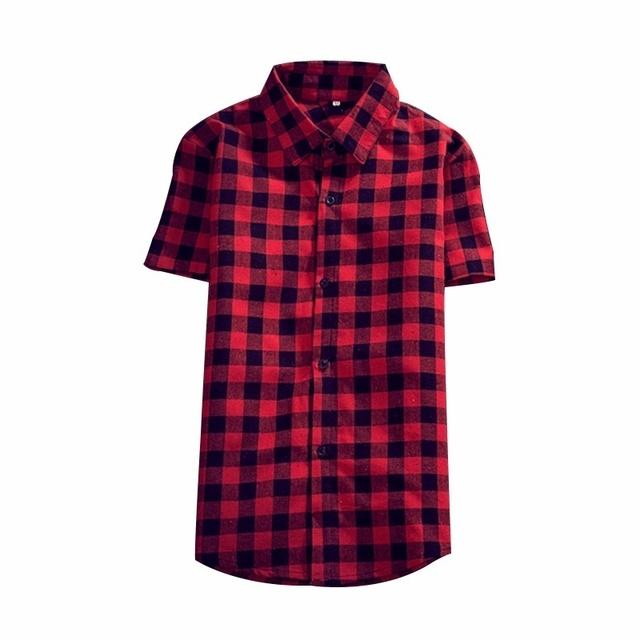 Nova chegada 2016 homens verão camisa malha estilo de Design de moda Plaid Mens Casual homem camisas de manga curta lapela camisas de algodão