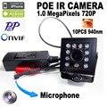 720 P áudio mini Menor Visão Noturna mini ip ir câmera ip poe Encoberta da câmera 940nm ir mini câmera ip poe ir câmera de Rede Onvif